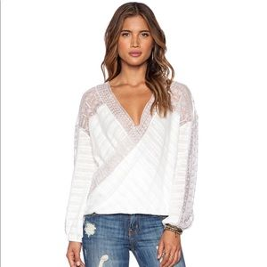 FREE PEOPLE Ivory Lace Twist Valley City Top M